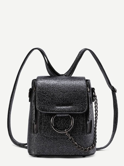 Ring And Chain Detail PU Backpack