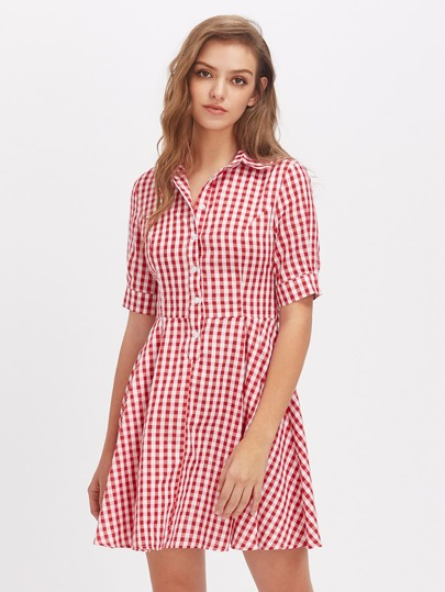 Tie Waist Fit And Flare Gingham Shirt Dress