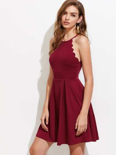 Scallop Edge Box Pleated Dress