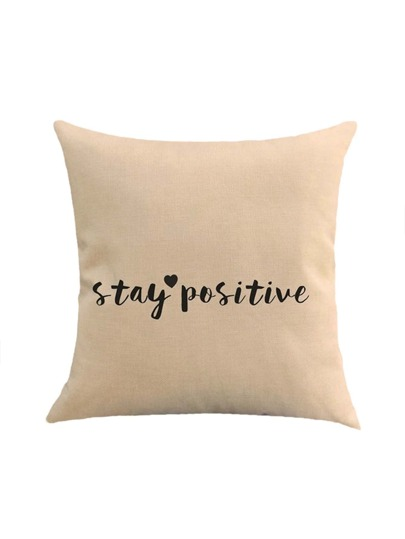 Slogan & Heart Print Cushion Cover