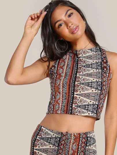 Vintage Print Sleeveless Crop Top RUST