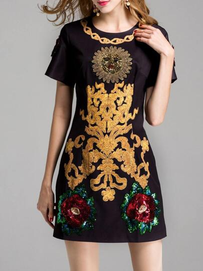 Flowers Sequined Beading Shift Dress