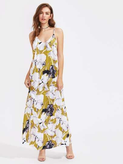 Strappy V Back Slit Cami Dress