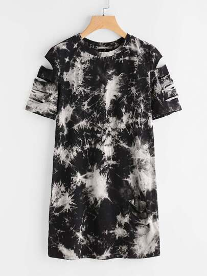 Tie Dye Print Ripped Tee Dress