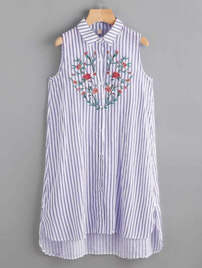 Embroidered Striped Dip Hem Shirt Dress