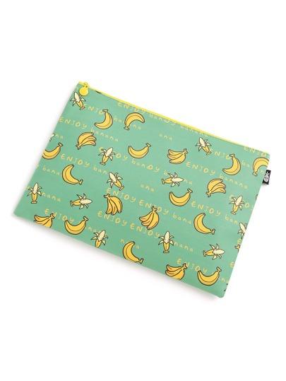 Schmale Zubehörtasche mit Bananamuster