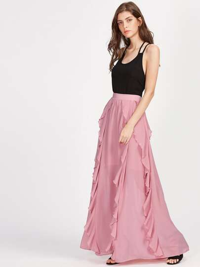 Band Waist Frill Trim Semi Sheer Skirt
