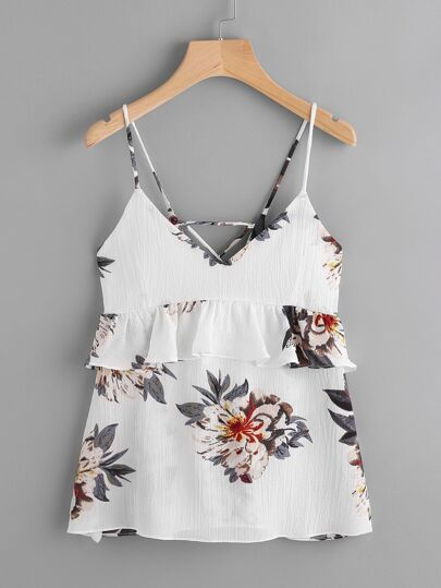 Frill Trim Lace Up Back Florals Cami Top
