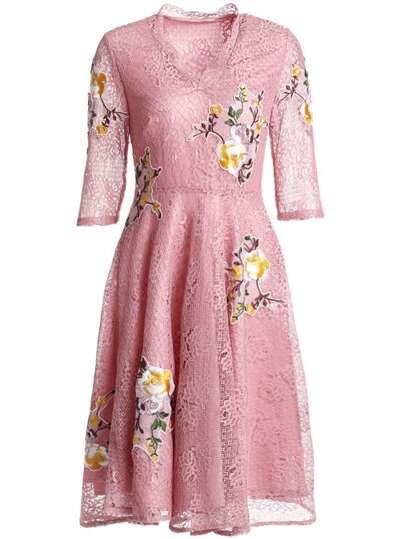 V Neck Flowers Applique Pouf Lace Dress