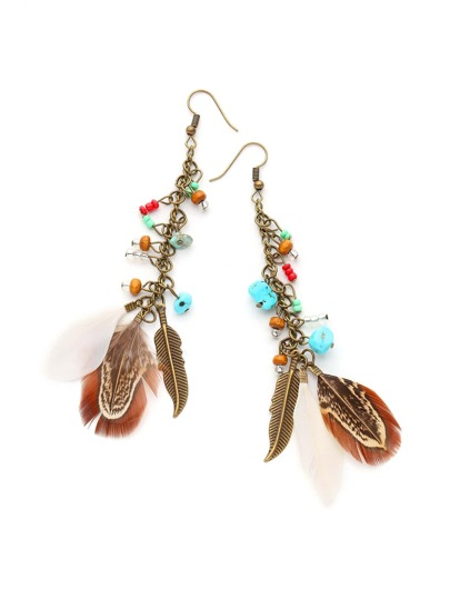 Feather And Stone Detail Drop Earrings