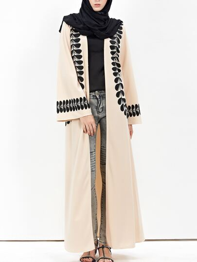 Printed Longline Abaya With Hook & Eye