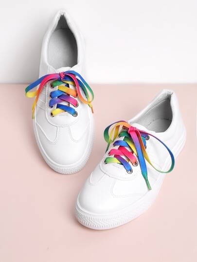 PU Round Toe Lace Up Sneakers