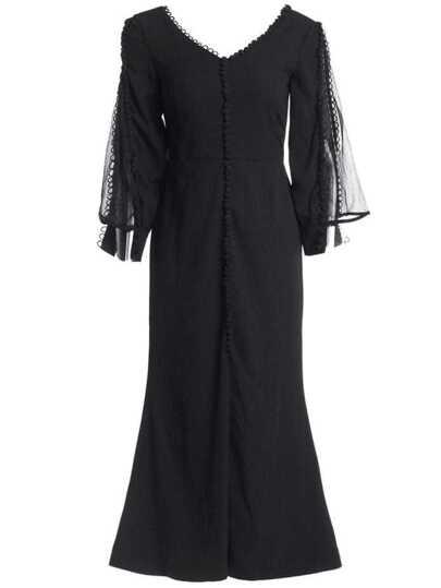 V Neck Backless Belted Split Dress