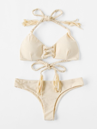 Braided Strap Tassel Tie Bikini Set