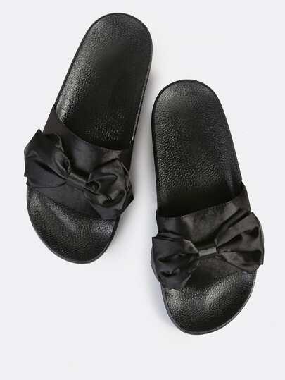 Silky Bow Slides BLACK