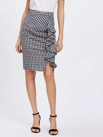 Frill Trim Ruched Gingham Skirt