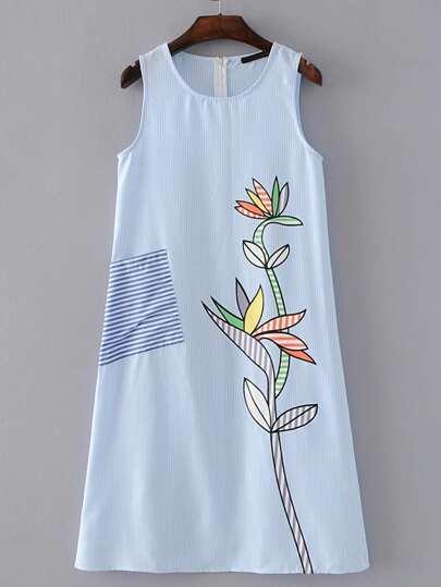 Flower Print Pinstripe Zipper Back Dress