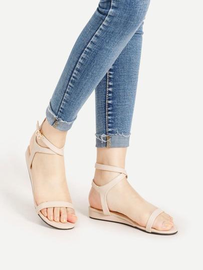 Sandales à fond plat en PU avec lacets