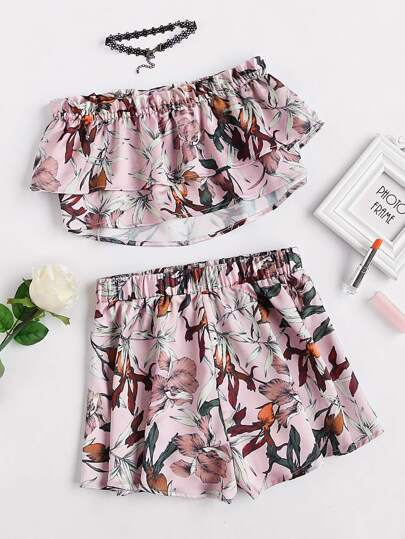 Double Layer Botanical Bandeau Top And Shorts Set
