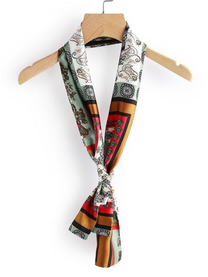 Модный атласный тонкий шарф с принтом