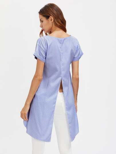 Blusa asimétrica de rayas verticales y espalda con abertura