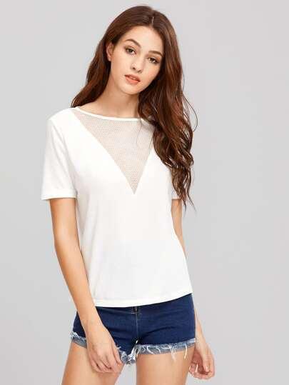 T-Shirt mit Öse, Netz und V-Ausschnitt