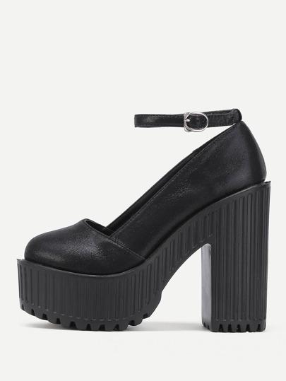 Zapatos de tacón cuadrado de pu con plataforma y correa al tobillo