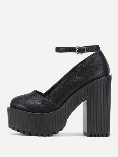 Ankle Strap Platform PU Block Heels