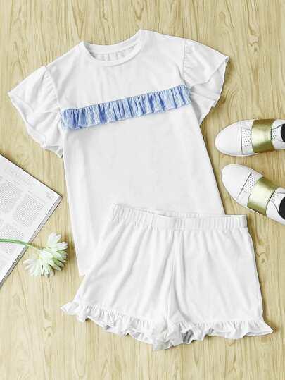 Striped Ruffle Trim Tee And Short Pajama Set
