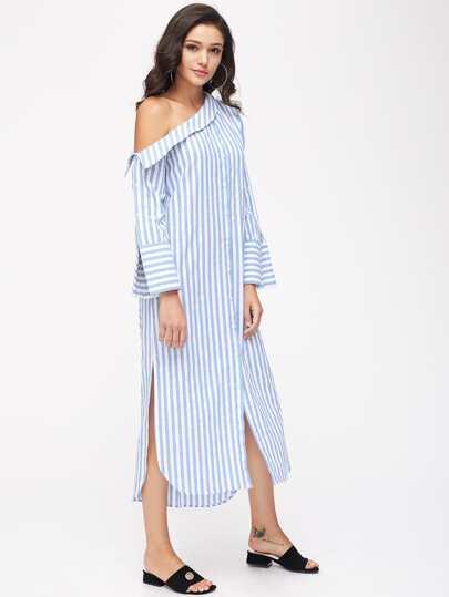 Asymmetric Shoulder Wide Cuff Curved Slit Dress