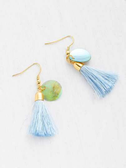 Tassel Detail Drop Earrings With Shell