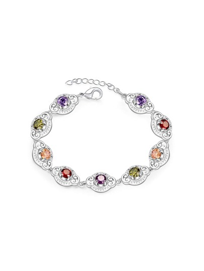 Gemstone Embellished Chain Bracelet