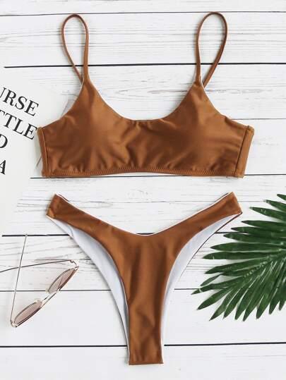 Ensemble de bikini cuisse haute à bretelle