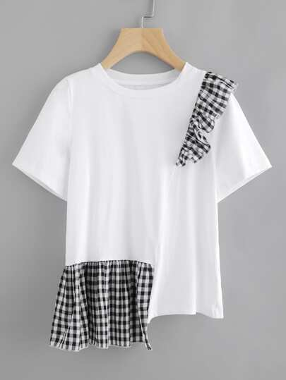 Gingham Ruffle Trim Staggered Tee