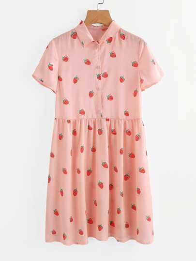 Allover Strawberry Print Half Placket Smock Dress