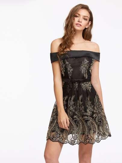 Fold Over Bardot Bow Detail Skater Dress
