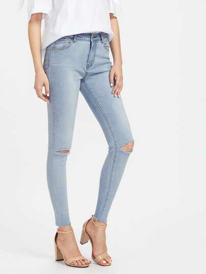 Faded Wash Knee Ripped Jeans