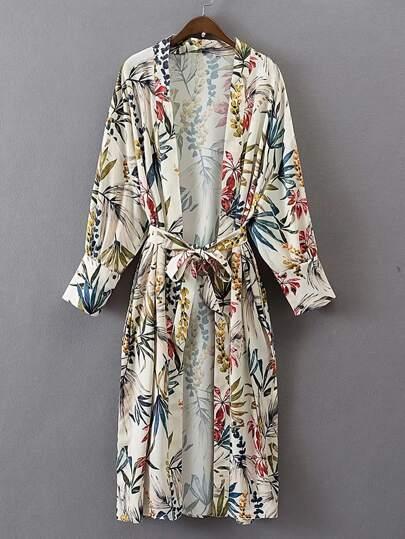 Kimono largo con estampado floral y cordón
