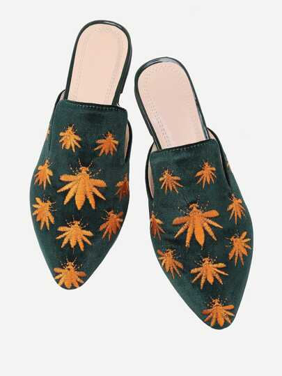 Leaf Embroidery Flat Mules