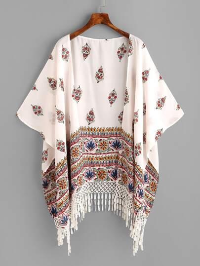 Kimono asymétrique imprimé fleuri avec des franges