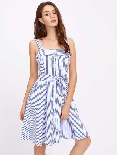 Self Tie Fold Neck Pinstripe Pinafore Dress