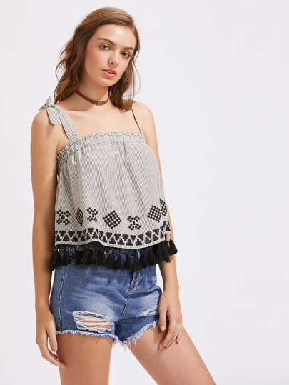 Tasseled Trim Geo Embroidery Asymmetric Strap Top