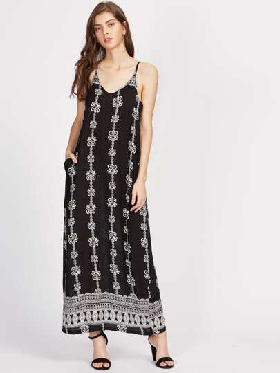 Tribal Print Deep-plunge Neck Cami Dress
