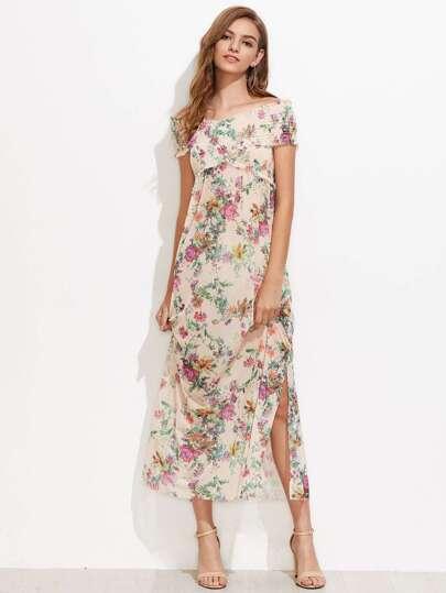 Boat Neckline Split Side Floral Maxi Dress