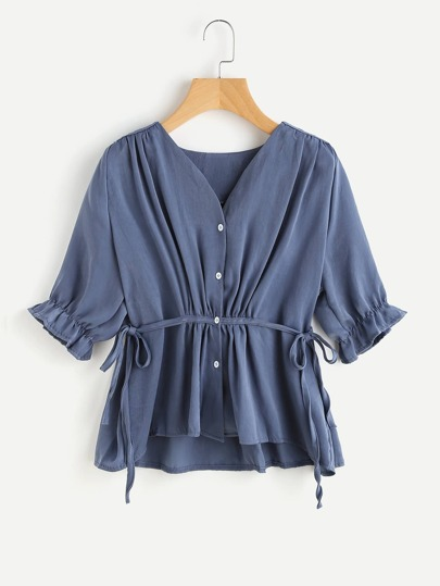 Tie Side Elastic Cuff Crepe Blouse