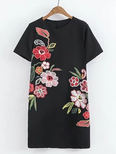 Flower Embroidery Sheath Dress