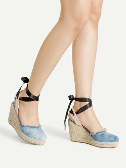 Ankle Wrap Denim Wedge Sandals