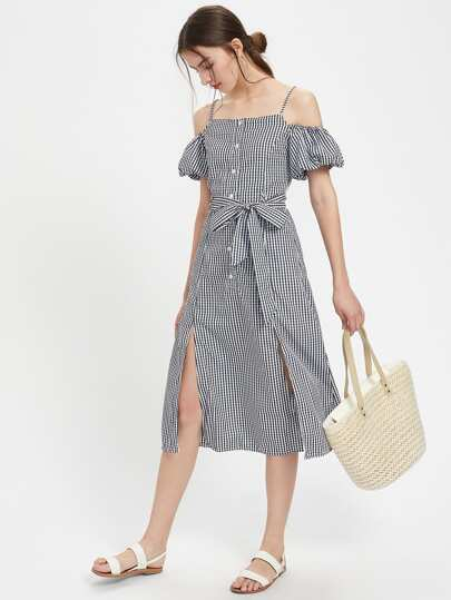 Gingham Lantern Sleeve Self Tie M-Slit Dress