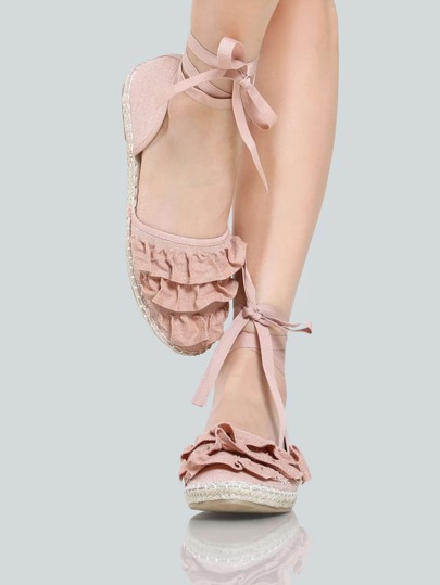 Espadrilles Frilly Flats PINK