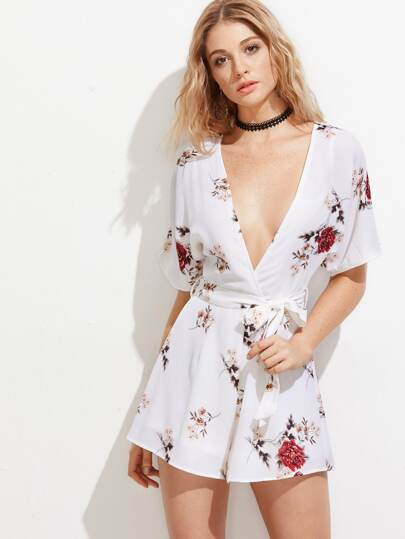 Plunging V-Neckline Tie Back Playsuit With Self Tie